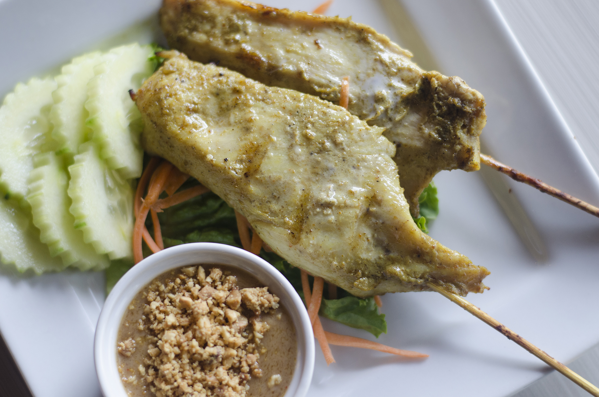 Chicken Satay from Thai Time in Windsor, Ontario.