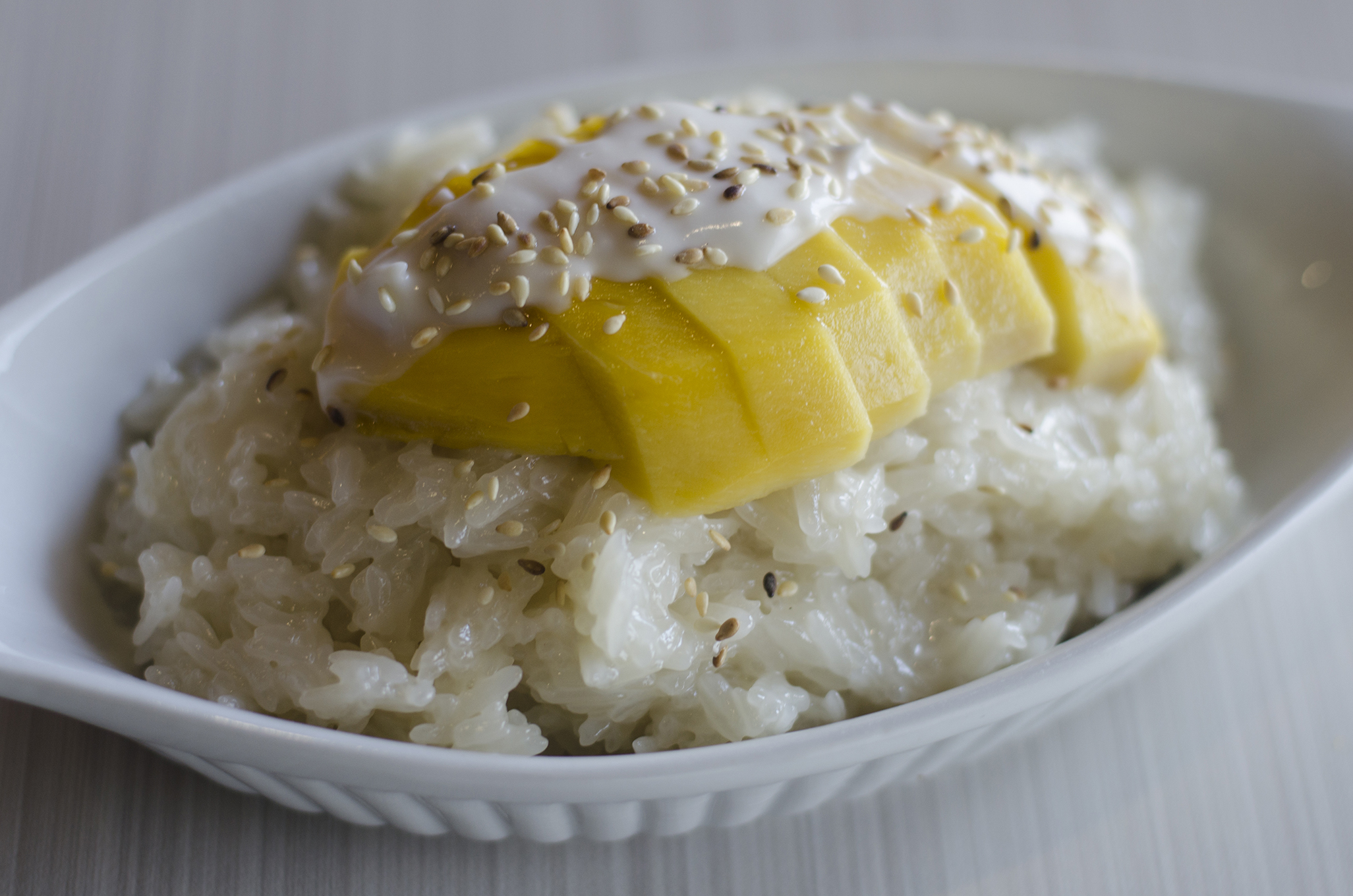 Sweet sticky rice with mango at Thai Time in Windsor, Ontario.