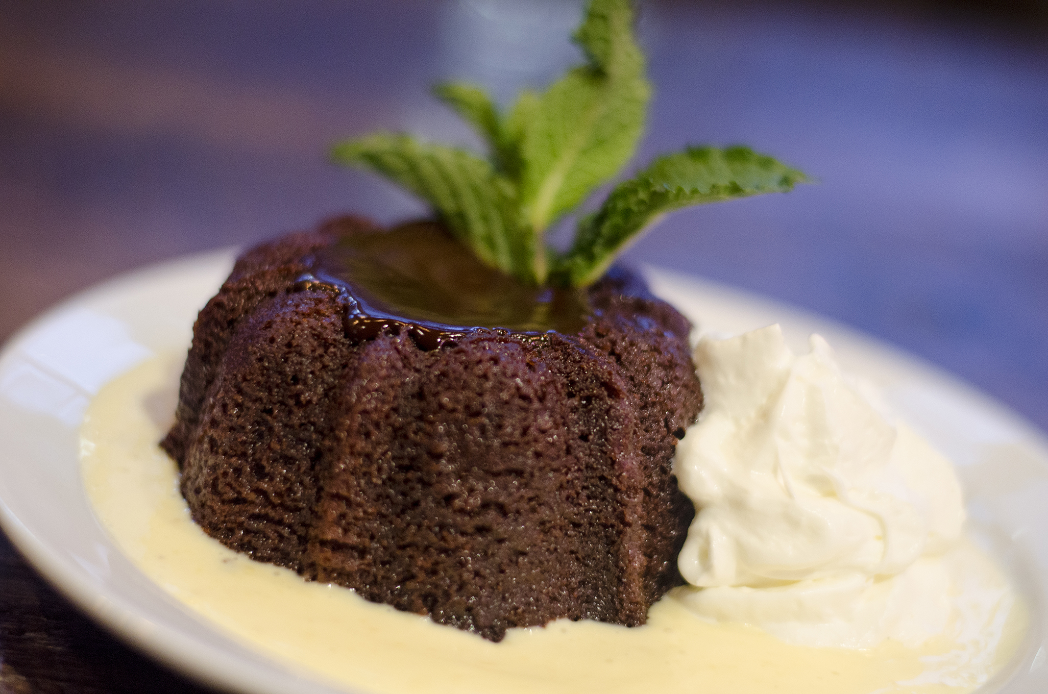 Chocolate lava cake from The Grove Brew House in Kingsville, Ontario.