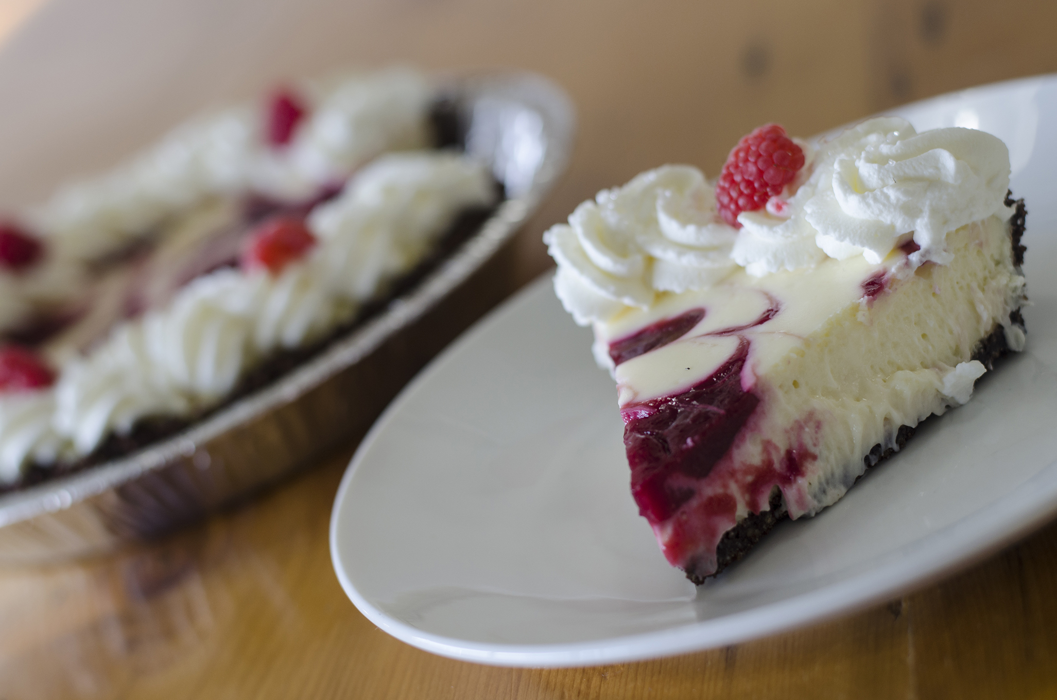 Raspberry cheesecake pie from Riverside Pie Cafe in Windsor, Ontario.