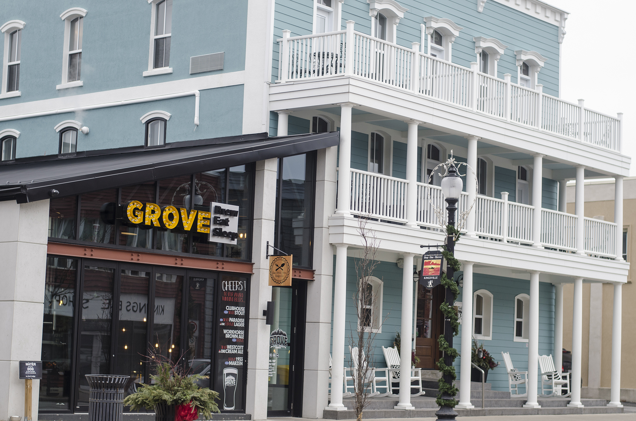 The Grove Brew House and The Grove Hotel in Kingsville, Ontario.