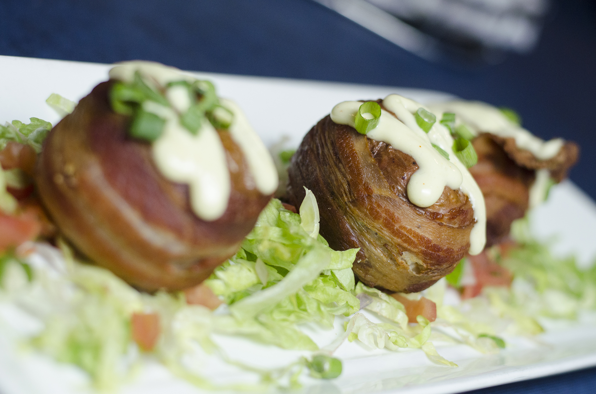 Bacon Wrapped Baked Potato Bombs from Bull & Barrel in Windsor, Ontario.
