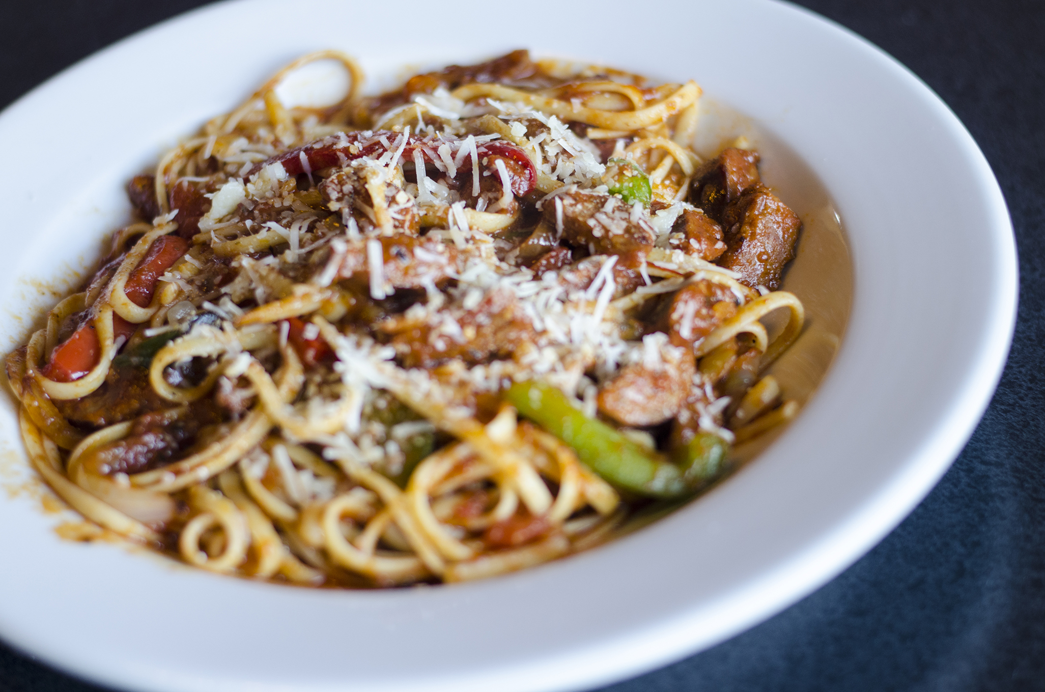 Sausage Pepper Linguine from Eastwood's Grill in Windsor, Ontario.
