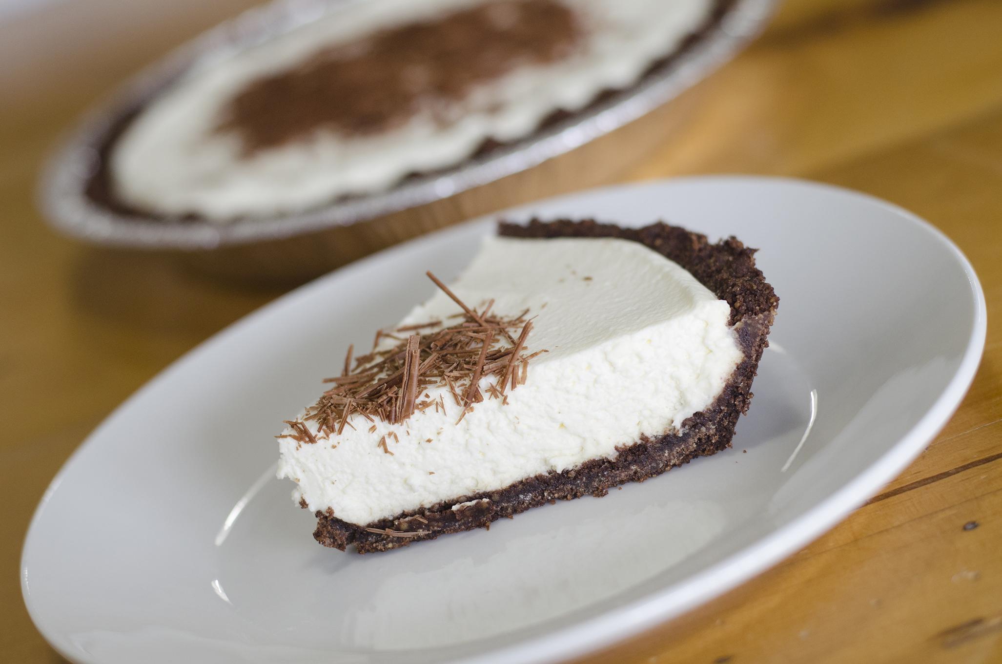 Mint Chocolate Cream pie from Riverside Pie Cafe in Windsor, Ontario.