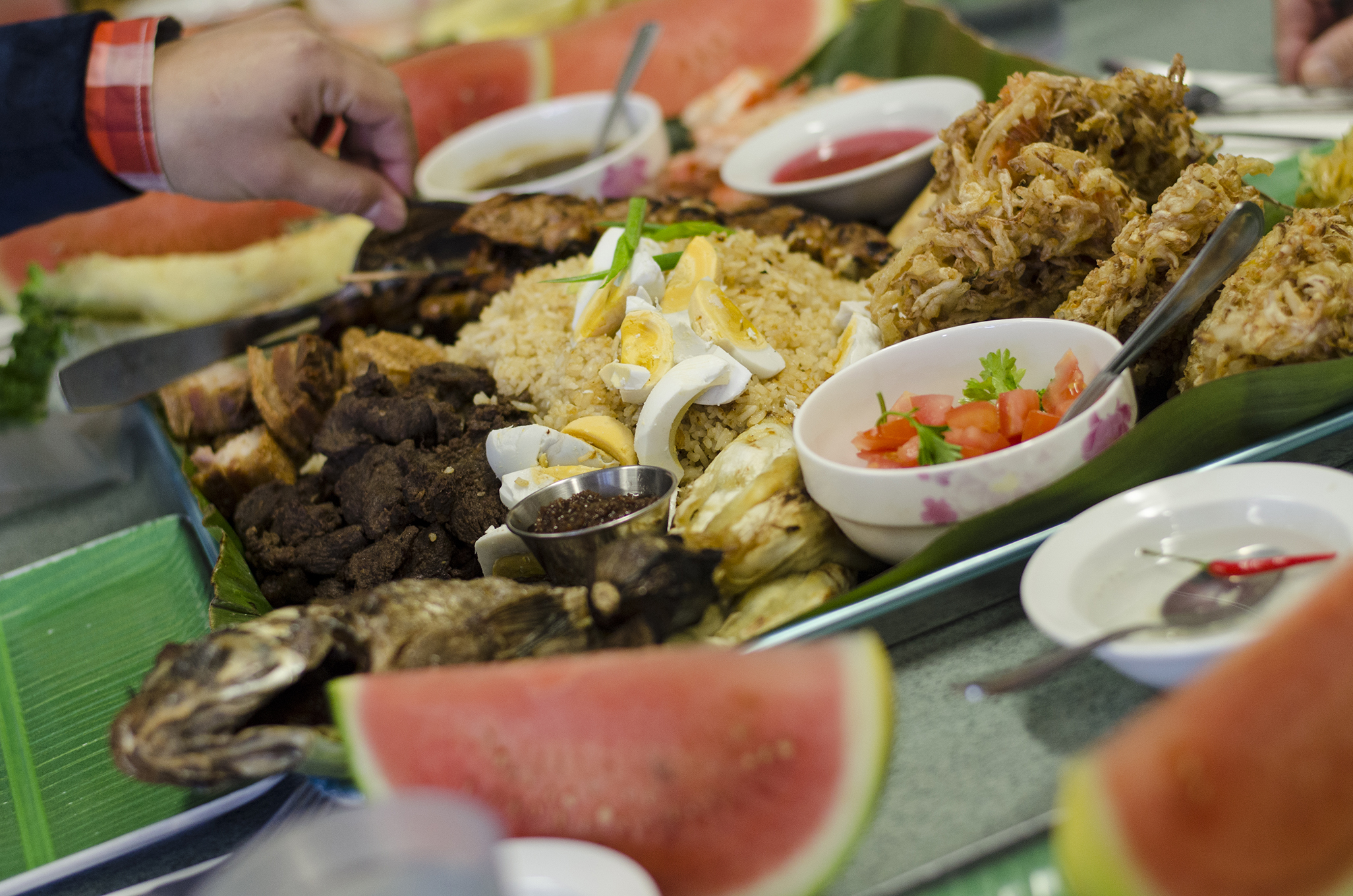 It's a Boodle Fight! Traditional Filipino cuisine served up in Windsor, Ontario.