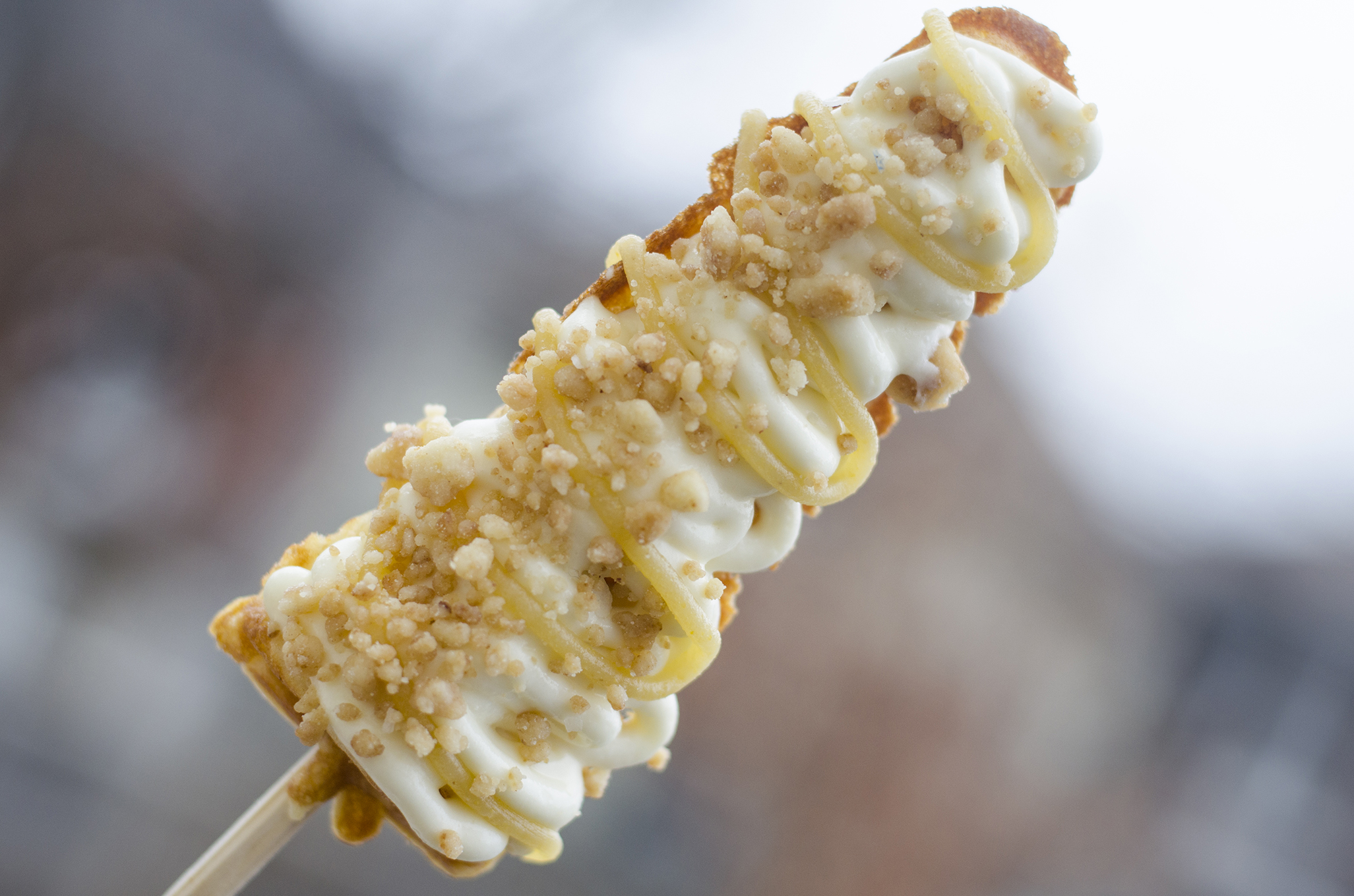 The Maple Butter Cheesecake waffle on a stick from WindsorEats.
