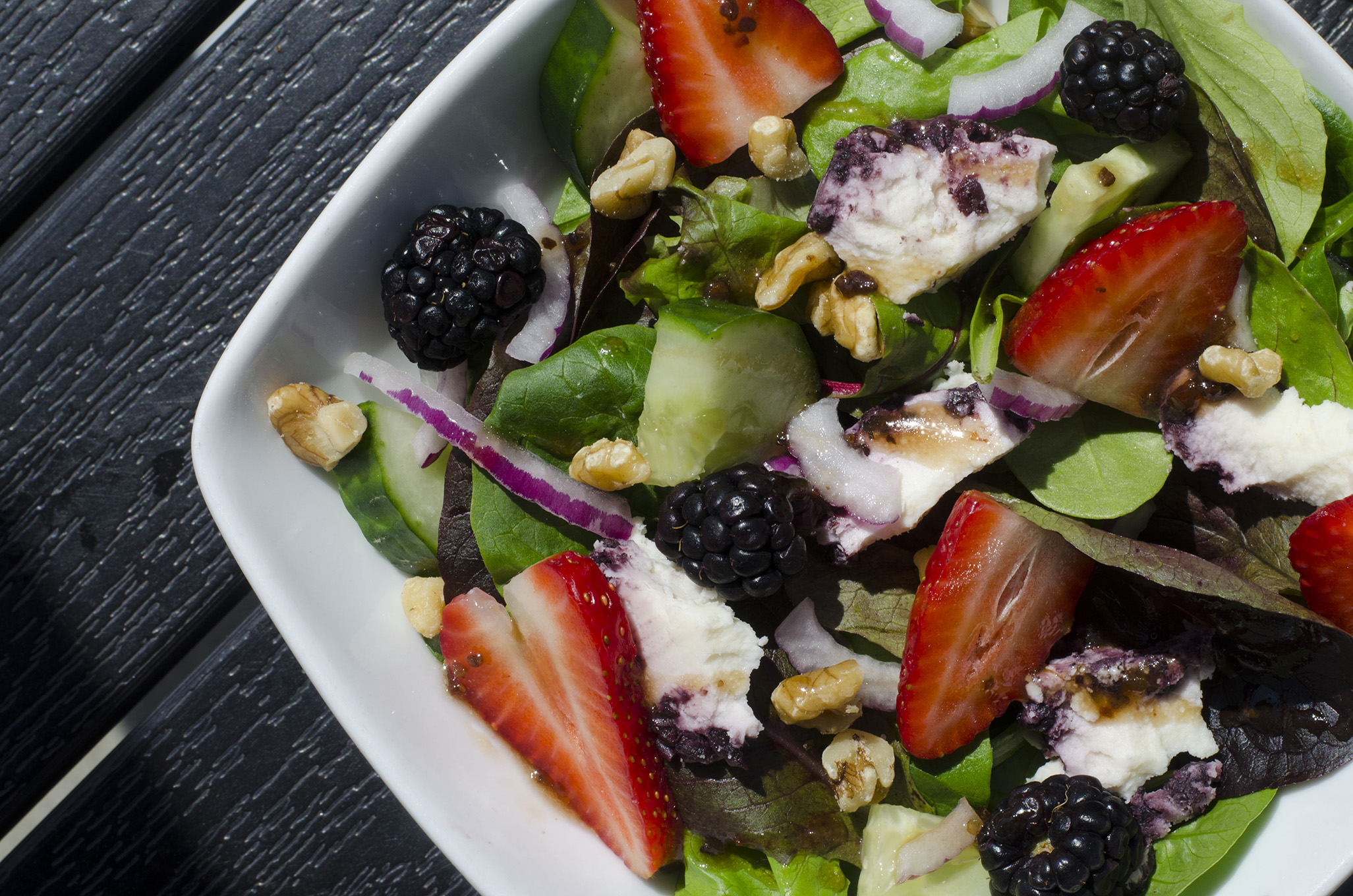 Mixed Berry & Goat Cheese Salad from the Joe Schmoe's GL Heritage Brewing dinner on June 18, 2019.
