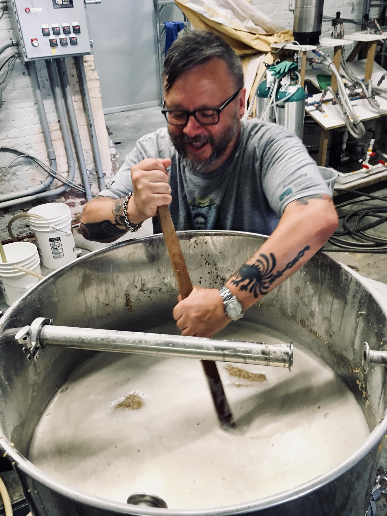 Grey Gnyp getting down and dirty brewing the GNIPA at Chapter Two Brewing in Windsor, Ontario.