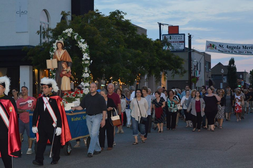 The traditional procession at the St. Angela Merici Festival in Windsor, Ontario.
