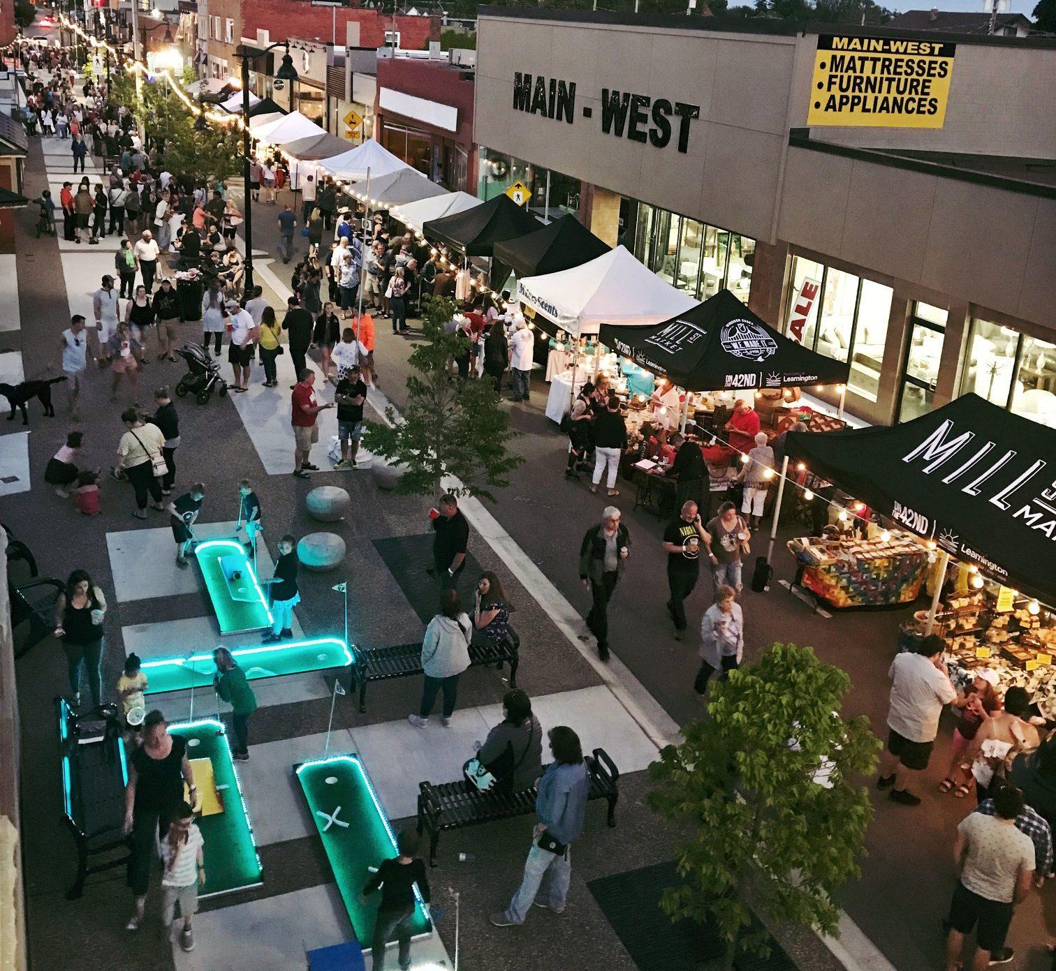 The Mill Street Night Market in Leamington, Ontario.