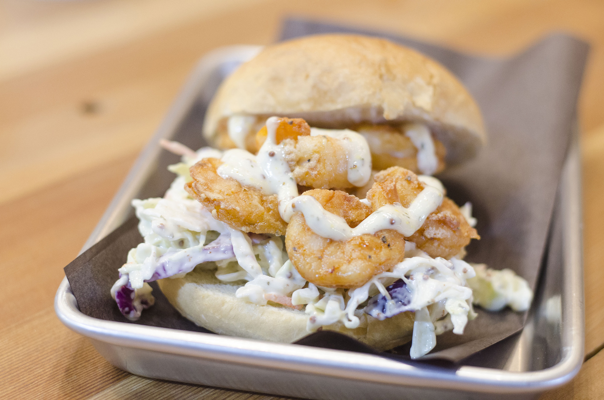 The Crispy Chicken Shrimp Poor Boy sandwich from Chapter Two Brewing Company in Windsor, Ontario.