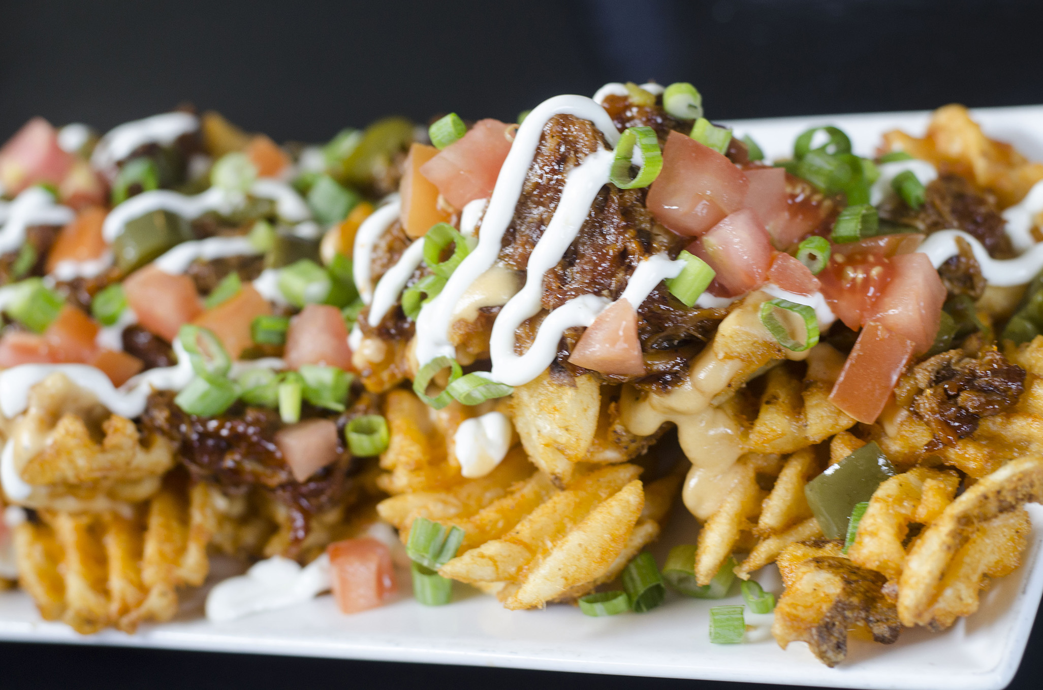 Waffle fry nachos from Jack's in Kingsville, Ontario.