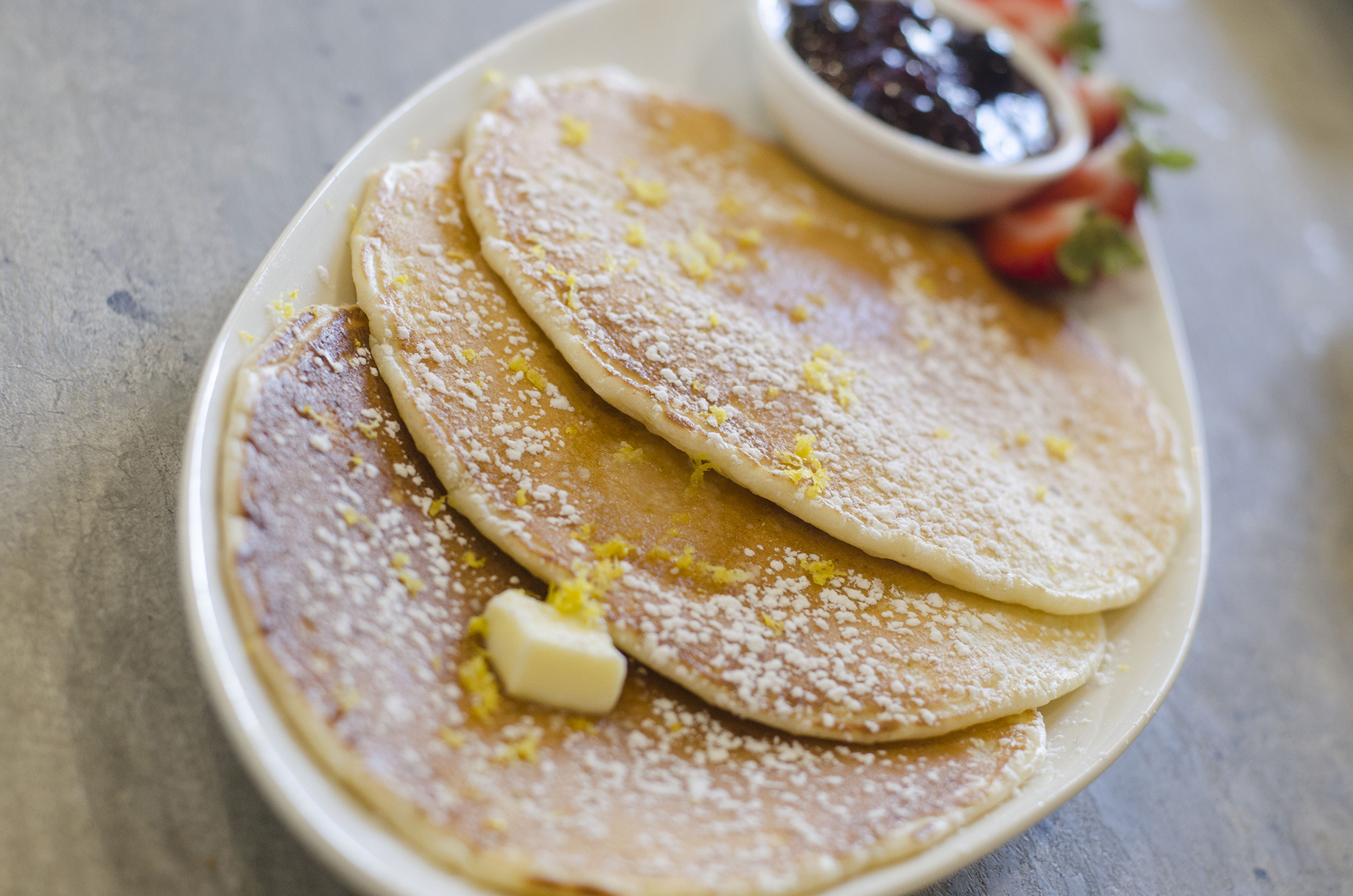Lemon Ricotta Pancakes from Paglione Estate Winery in Essex, Ontario.