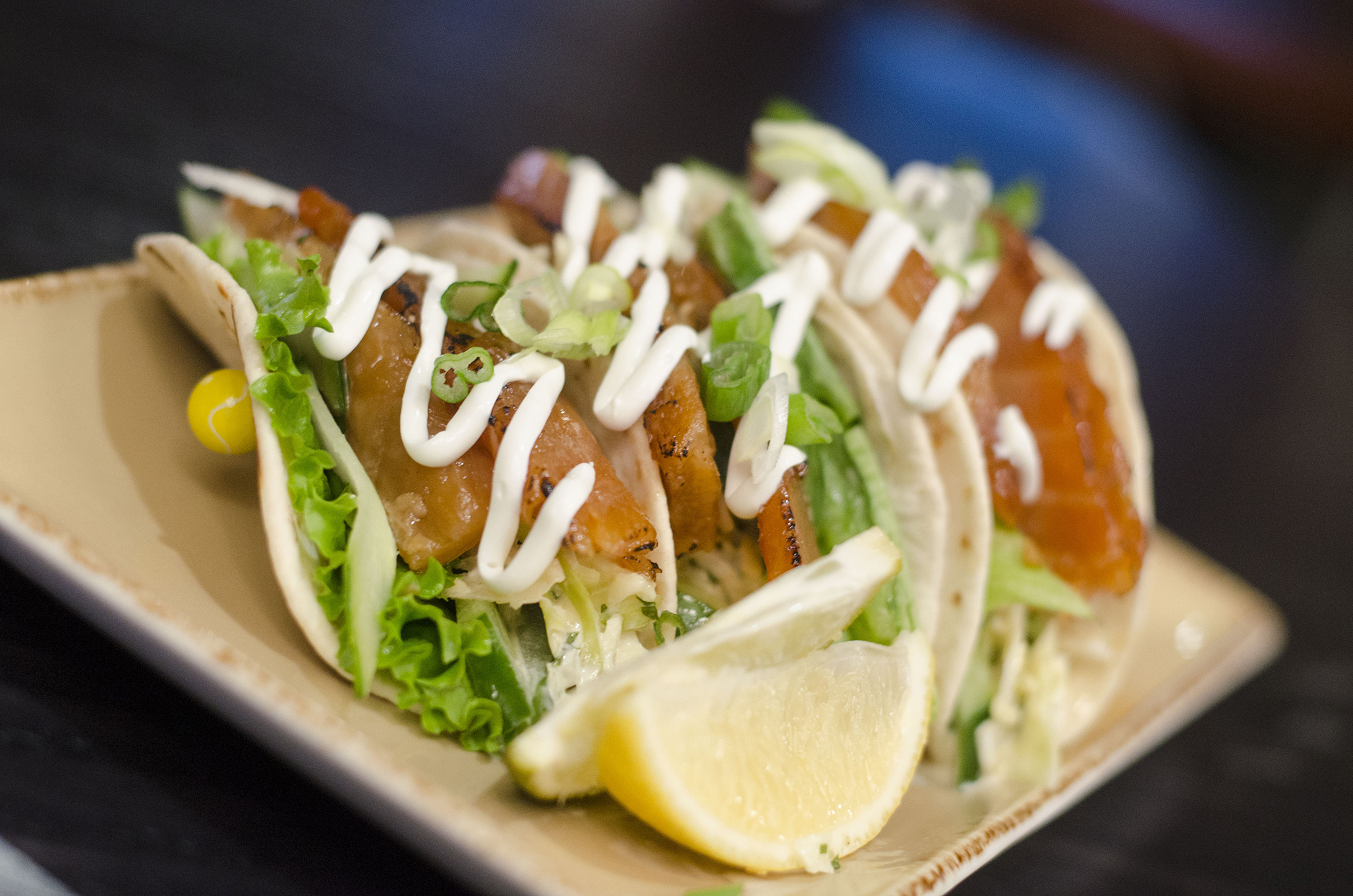 Maple candied smoked salmon tacos at Legends Sports Bar within the Caesars Windsor resort in Windsor, Ontario