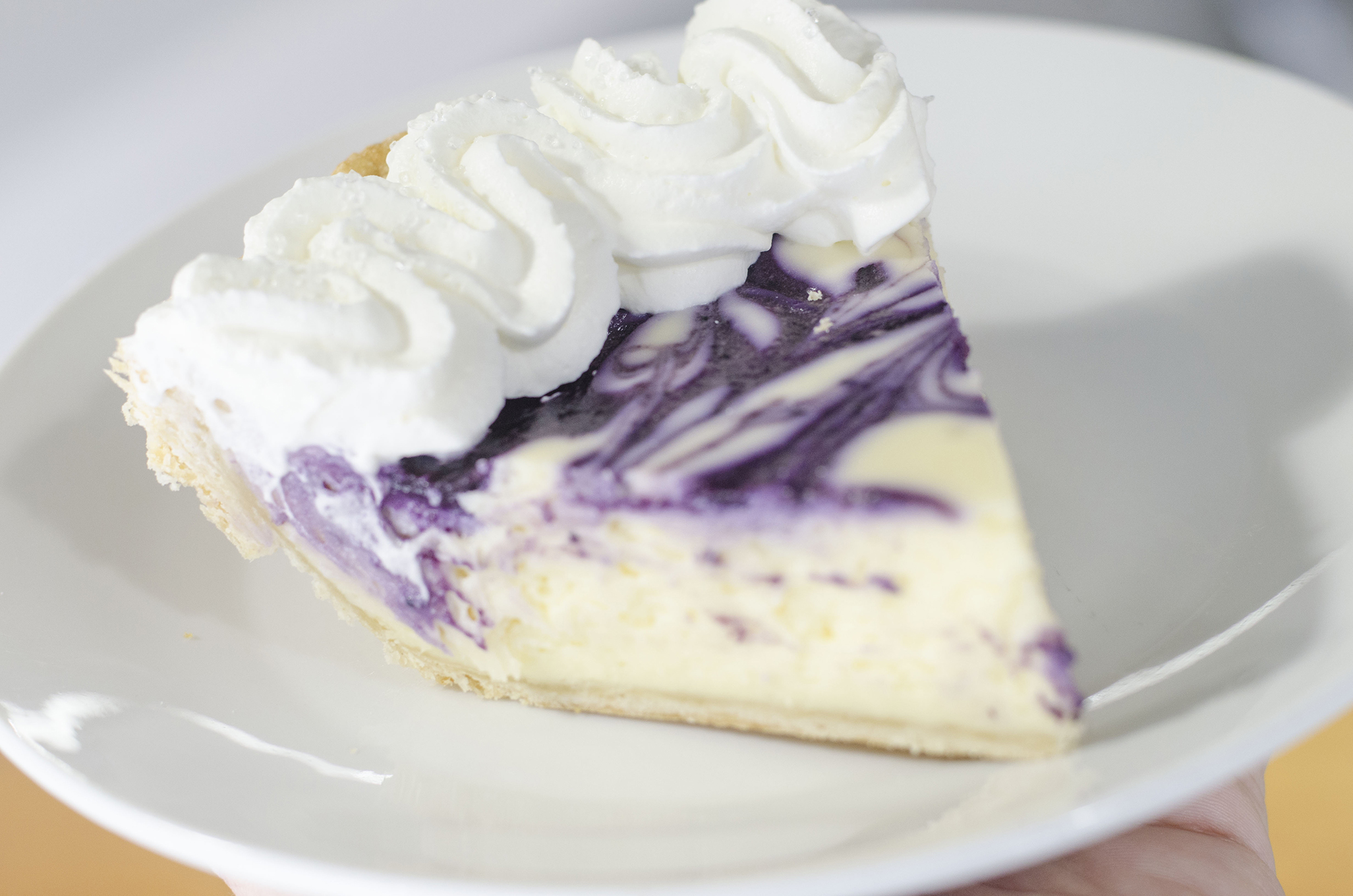 Blueberry White Chocolate Cheesecake from Riverside Pie Cafe in Windsor, Ontario.