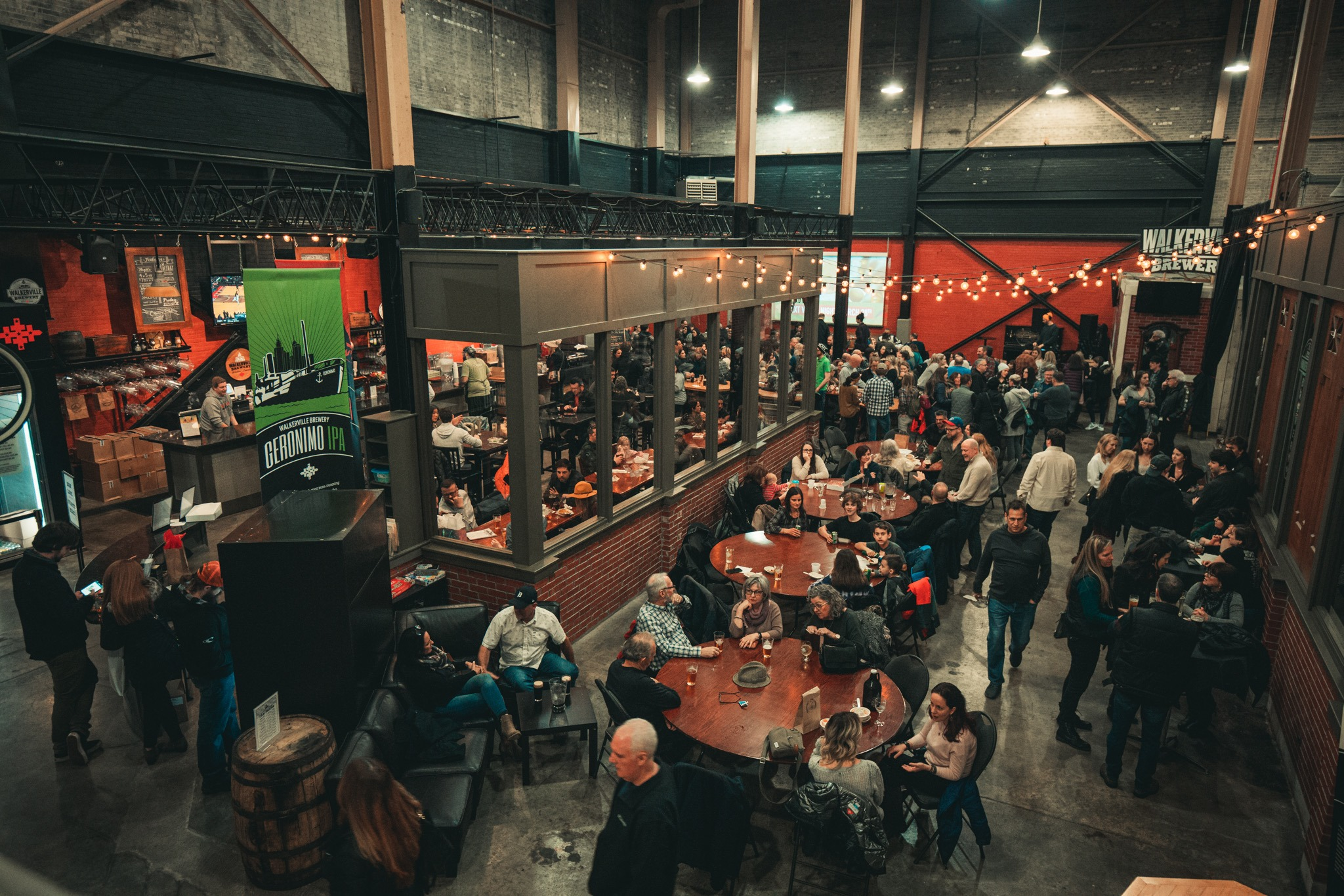 Crowds at Walkerville Brewery in Windsor, Ontario.