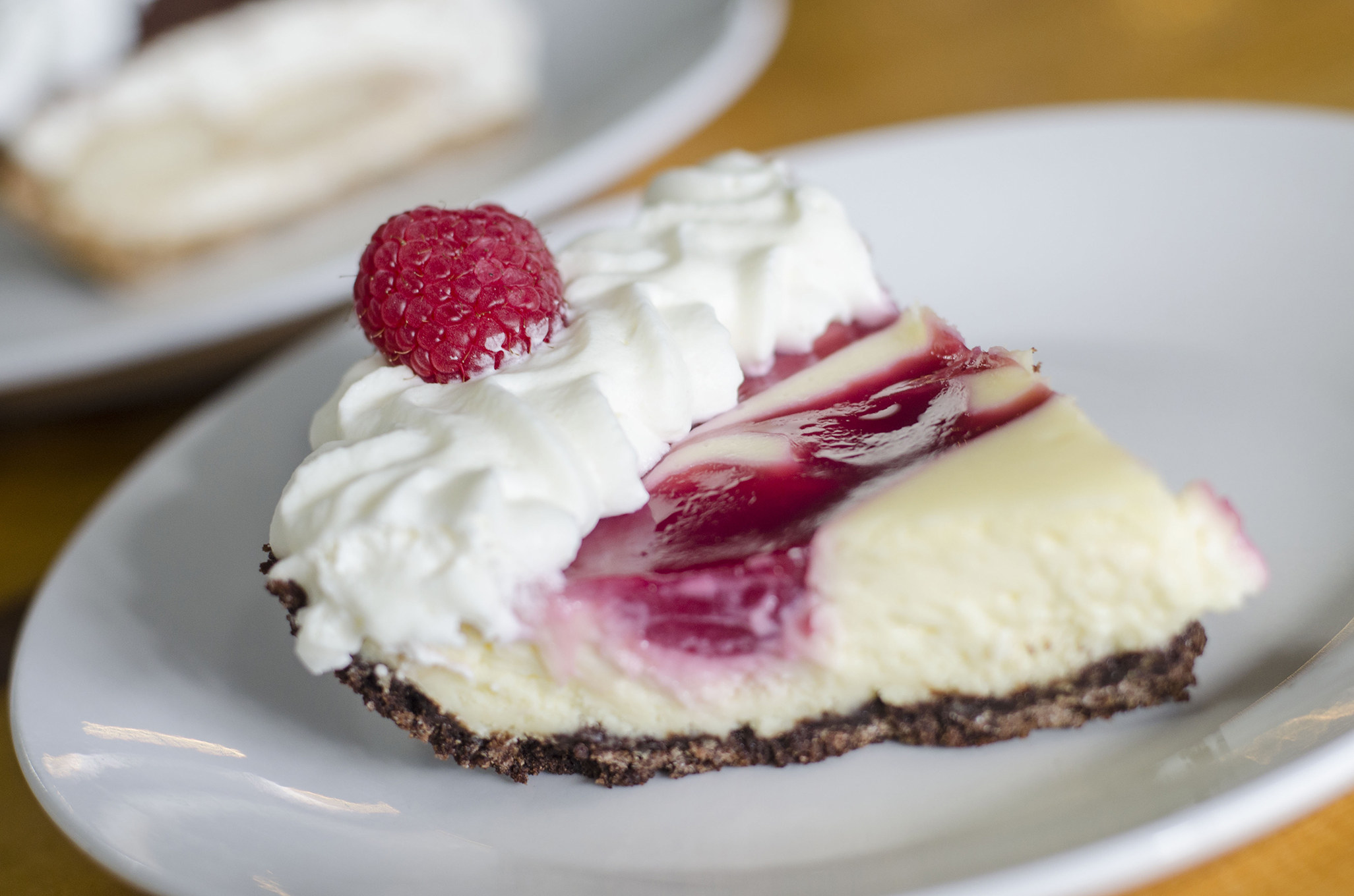 The Raspberry Swirl Cheesecake Pie from Riverside Pie Cafe in Windsor, Ontario.