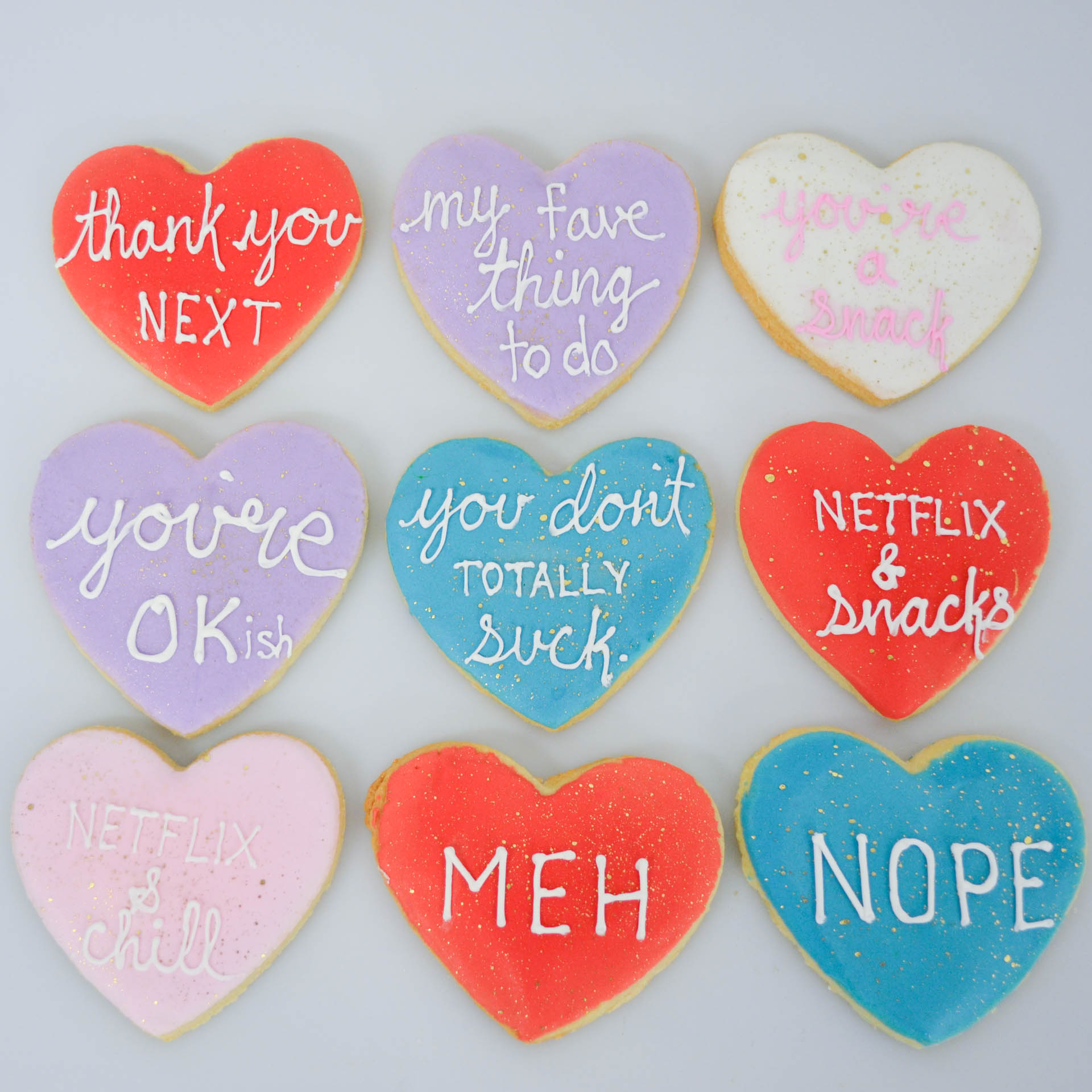 Fun and playful Valentine's Day sugar cookies from Sweet Revenge Bake Shop in Windsor, Ontario.