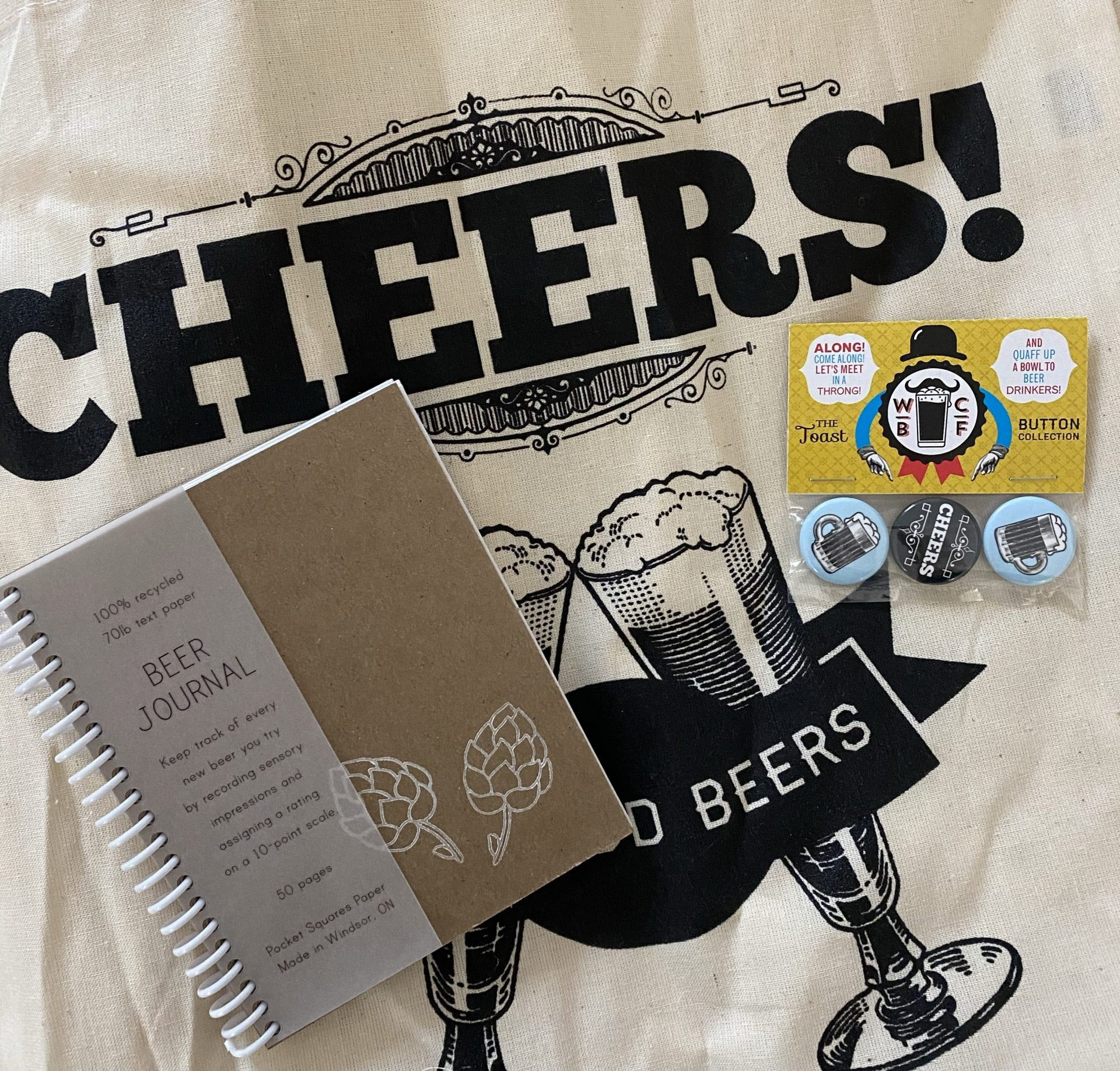Some of the gifts included in the Beers Beards kit in the Bevy Box.