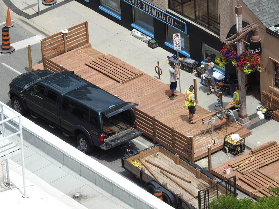 Pelissier Street Parklet being built in Downtown Windsor. Photo courtesy of Mark Bradley.
