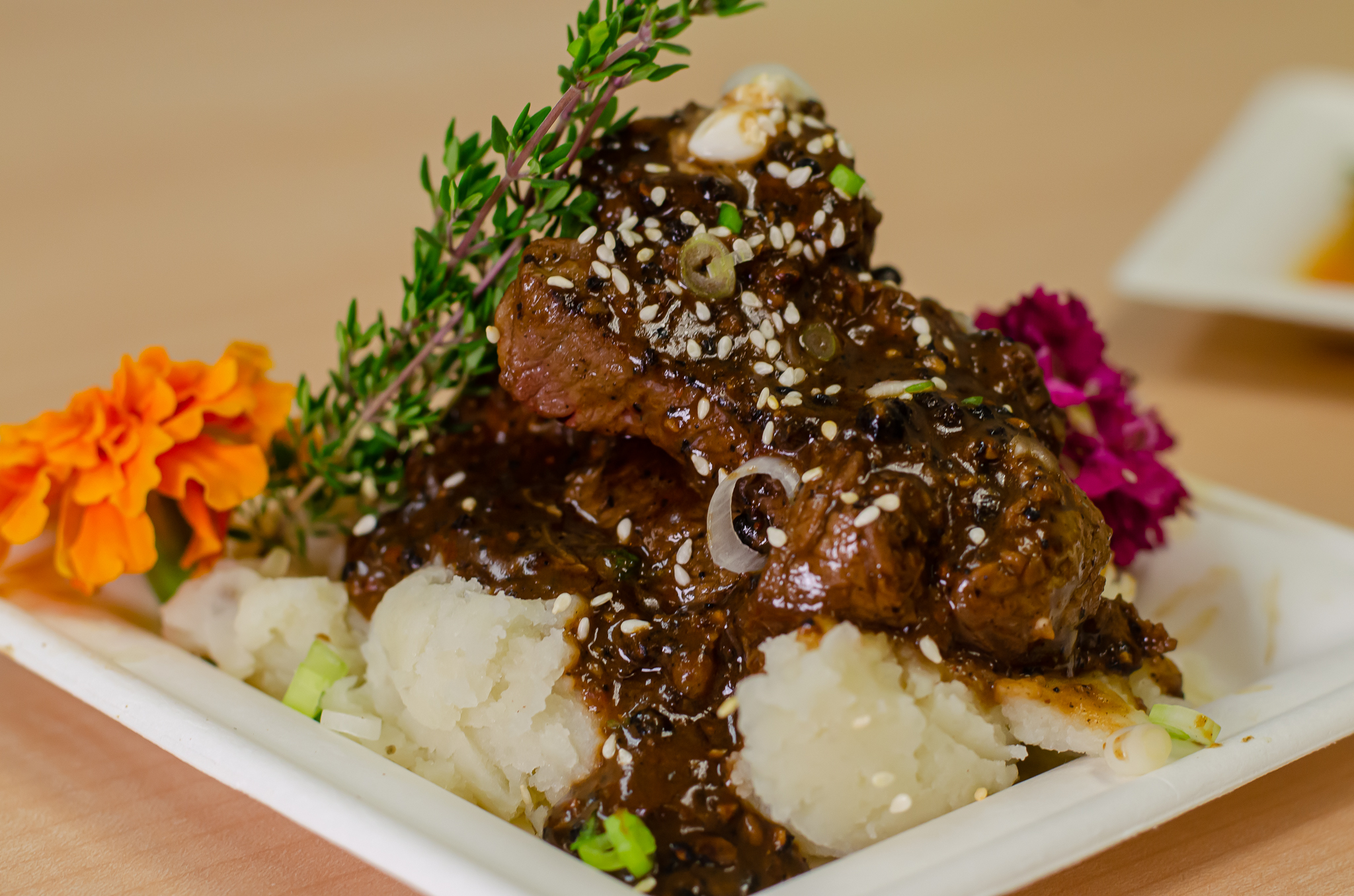Peppercorn beef tips from Chef Anthony Dalupan in Windsor, Ontario.