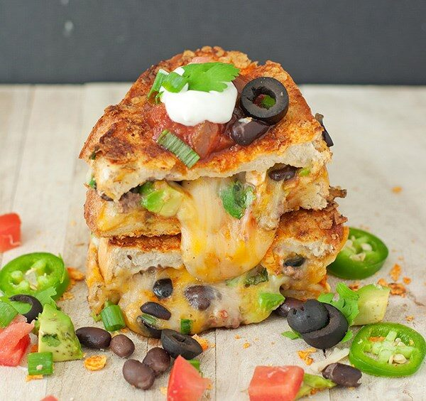 "We didn't have a chance to take photos, so here's a stock image of a ""nachos"" grilled cheese sandwich."