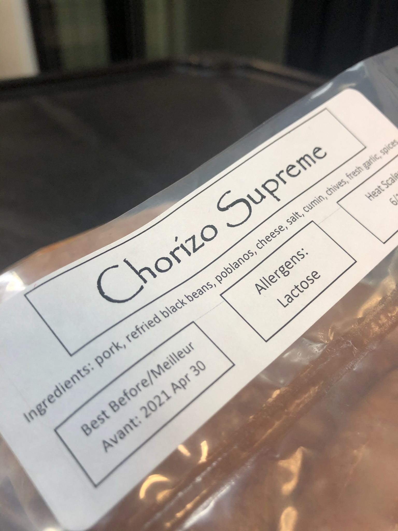 Chorizo Supreme sausages from Robbie's Gourmet Sausage Company in Windsor, Ontario.