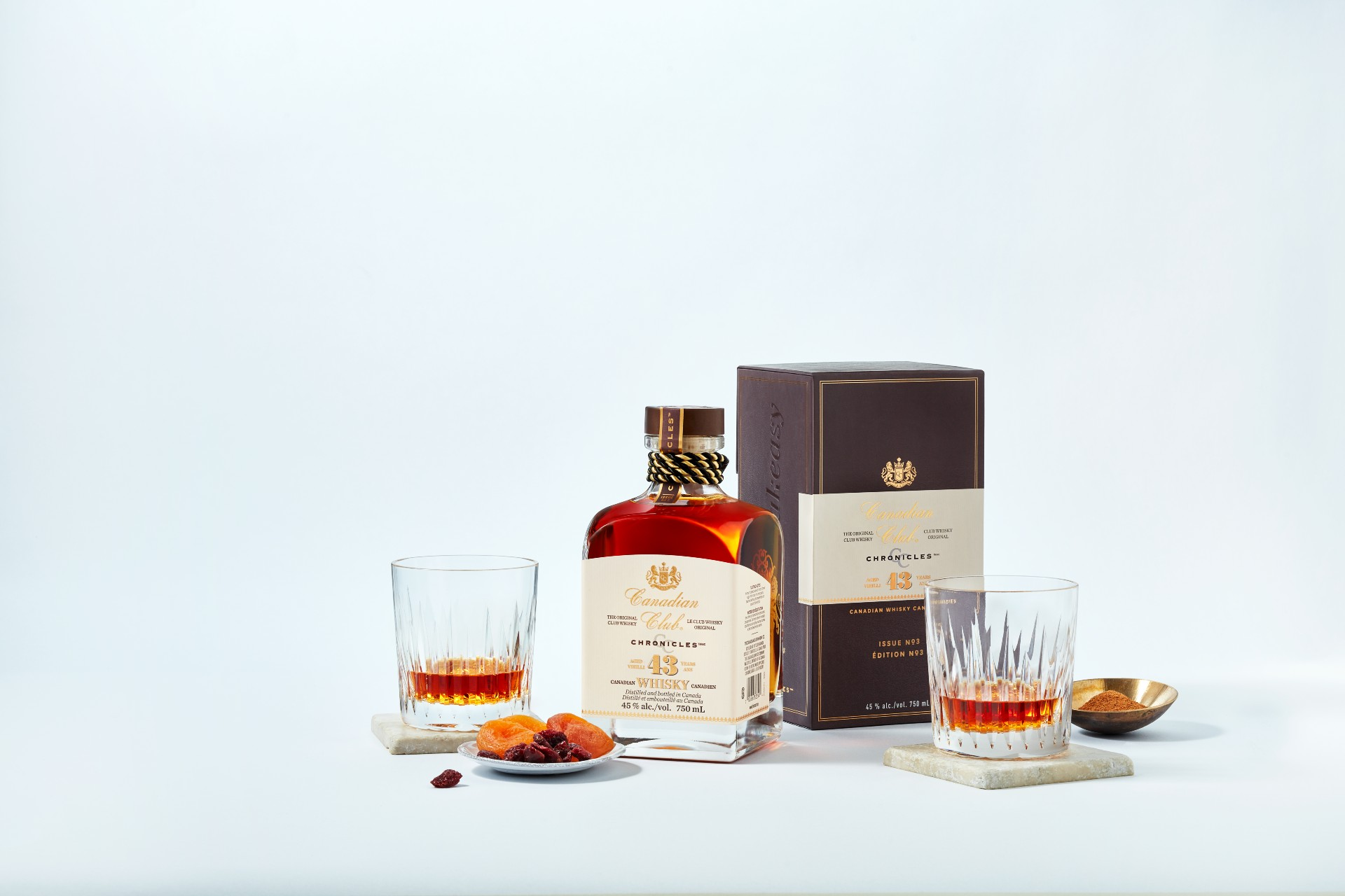 Canadian Club 43 Year Old whisky made in Windsor, Ontario.
